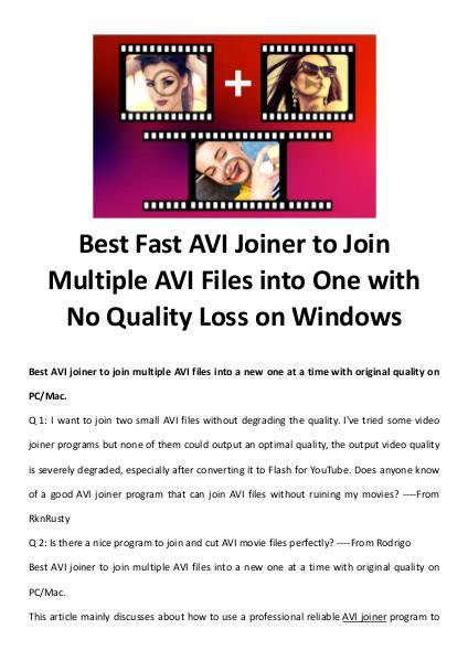 Multimedia Software AVI Joiner