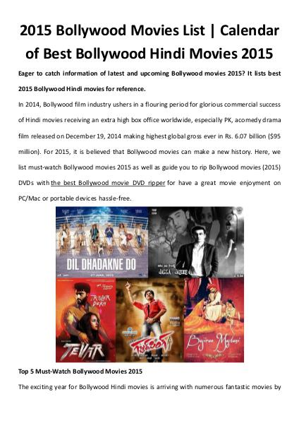 Multimedia Software 2015 Bollywood Movies List