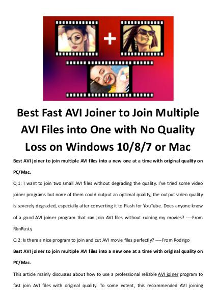 multimedia software tipsBest Fast AVI Joiner to Join Multiple AVI Fil Best Fast AVI Joiner to Join Multiple AVI Files into One with No Qual