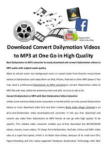 multimedia software tipsBest Fast AVI Joiner to Join Multiple AVI Fil Download Convert Dailymotion Videos to MP3 at One Go in High Quality