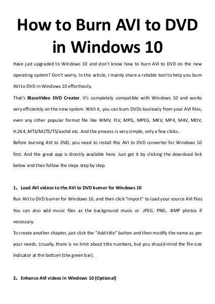 multimedia software tipsBest Fast AVI Joiner to Join Multiple AVI Fil How to Burn AVI to DVD in Windows 10