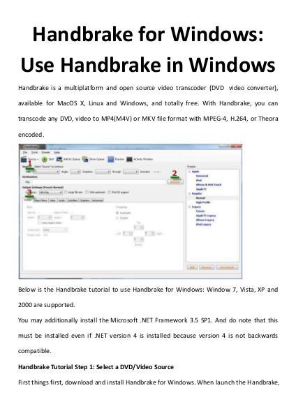 Handbrake for Windows: Use Handbrake in Windows