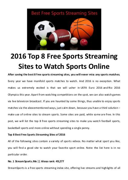 Multimedia Software Best free sports streaming sites