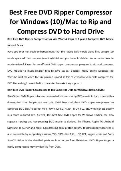 Multimedia Software Dvd ripper compressor
