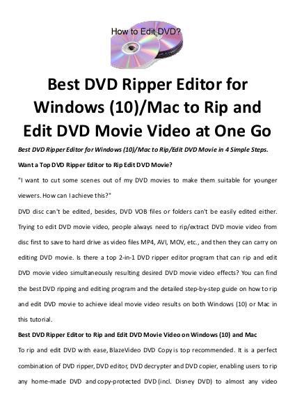 Multimedia Software Dvd ripper editor