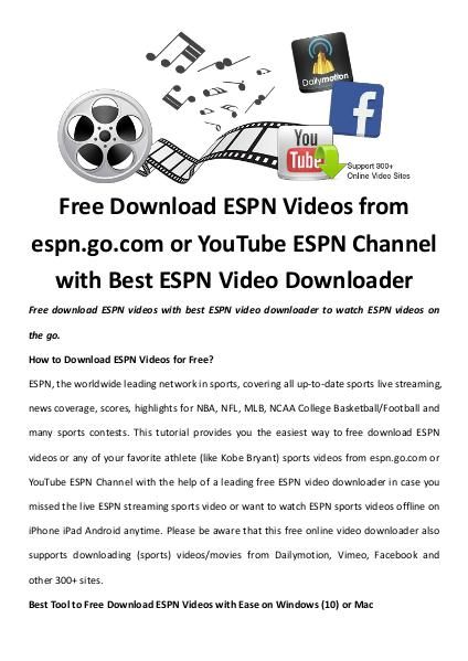 Multimedia Software Free download espn videos