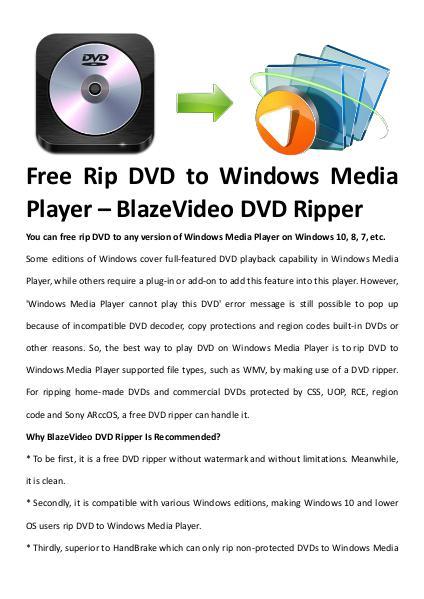 Multimedia Software Free dvd ripper windows media player