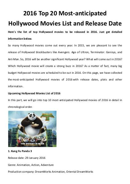 Multimedia Software Hollywood movies 2016