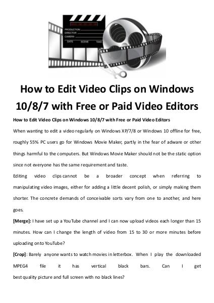 Multimedia Software How to edit a video with free video editor