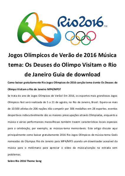 Multimedia Software Jogos olímpicos de verão de 2016 música tema baixa