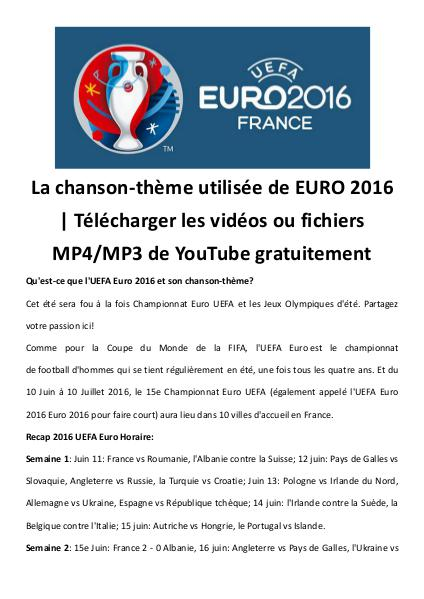 Multimedia Software Telecharger chanson theme uefa euro mp4 mp3 gratui