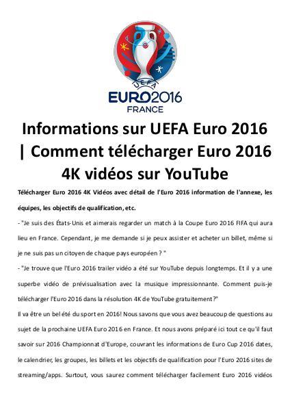Télécharger uefa euro 2016 vidéos 4 k sur youtube