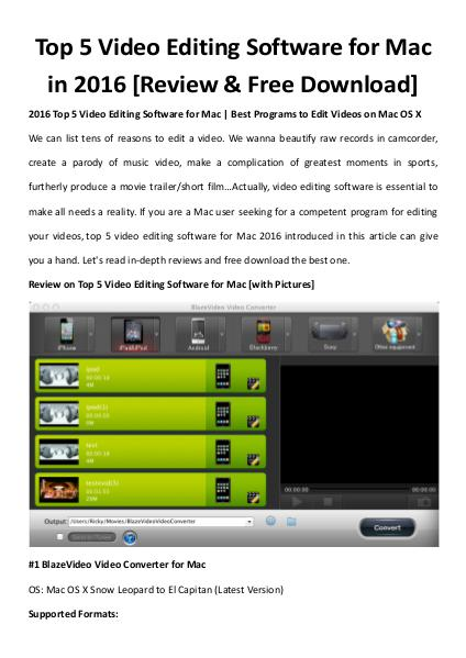Multimedia Software Top 5 video editing software for mac