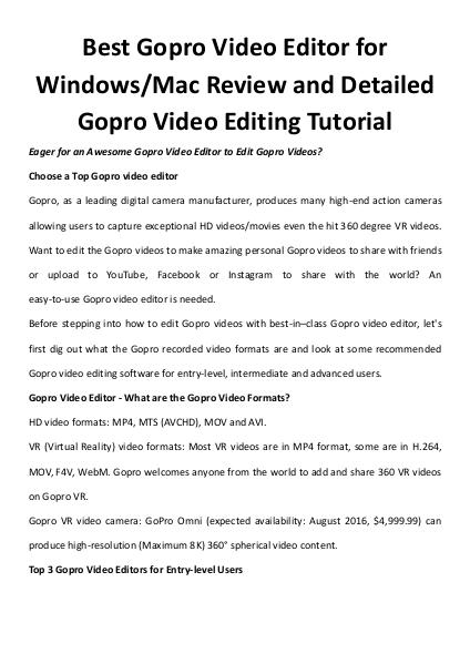 Multimedia Software Top gopro video editor
