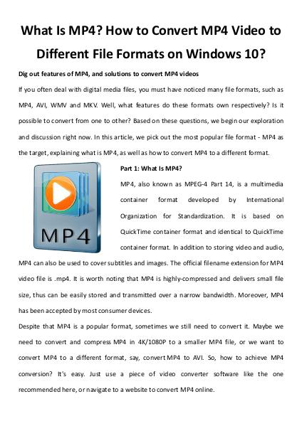 Multimedia Software What is mp4 how to convert mp4 video