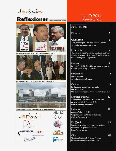 Reflexiones... para un mundo plural Volumen 2, número 3 Julio 2014