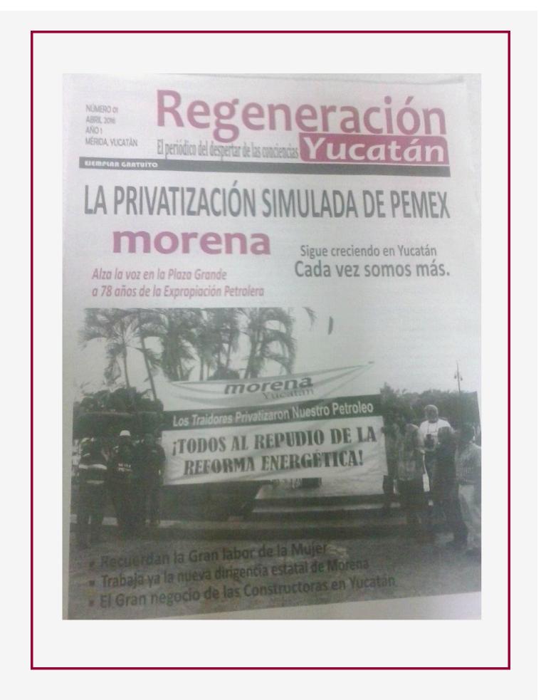 Regeneración Yucatán, Abril de 2016