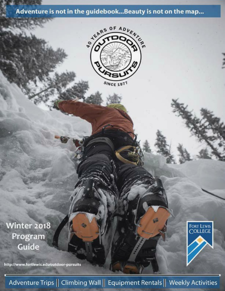 Outdoor Pursuits Program Guide Winter 2018