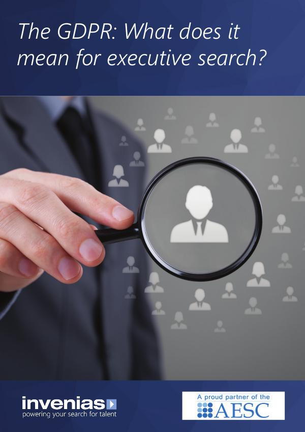 The General Data Protection Regulation (EU) What does it mean for executive search?