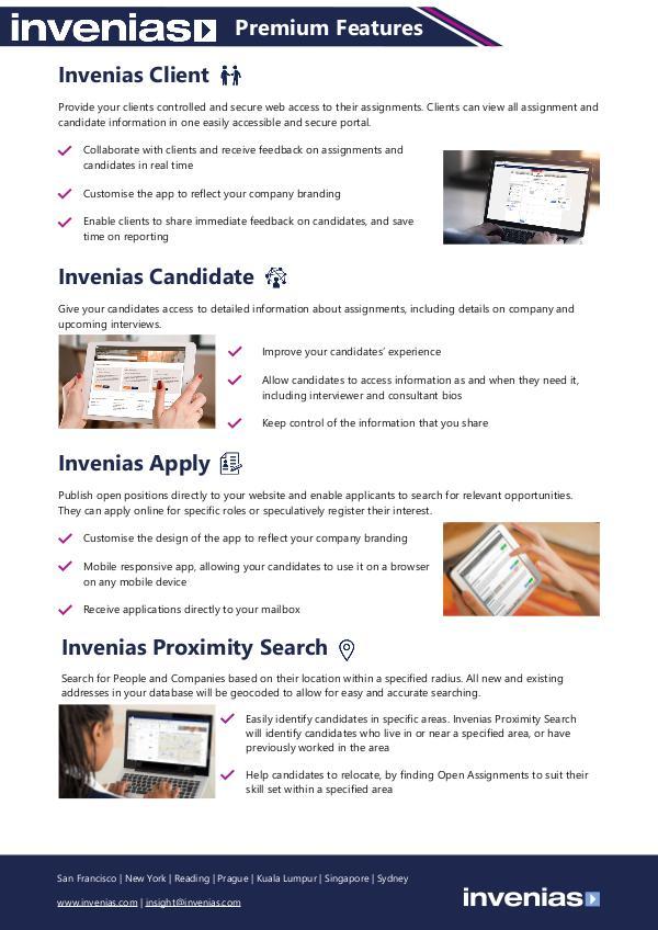 Invenias Premium Features Datasheet Premium Features Datasheet