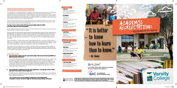 Varsity College Accreditation brochure 2017 41720VC_Accreditation_brochure_2017