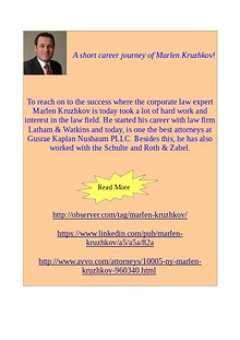 One of the attorneys of Gusrae Kaplan Nusbaum PLLC - Marlen Kruzhkov