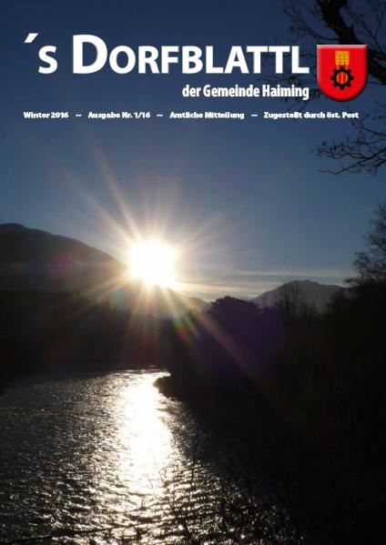 's Dorfblattl Haiming - Digitalausgabe Dorfblattl Haiming Winter 2016 - 01/16