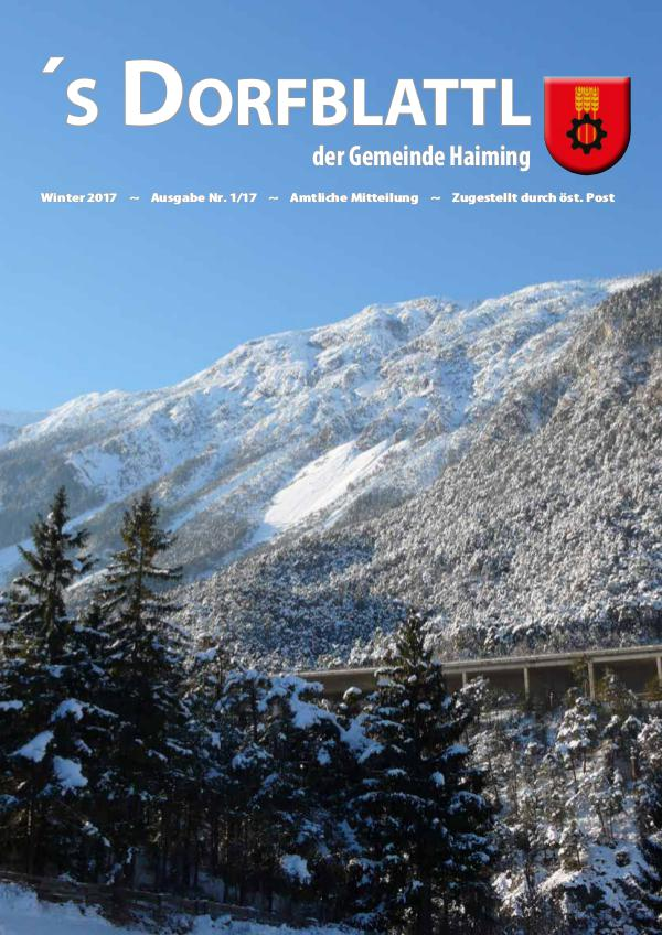 's Dorfblattl Haiming - Digitalausgabe Dorfblattl Haiming Winter 2017 - 01/17
