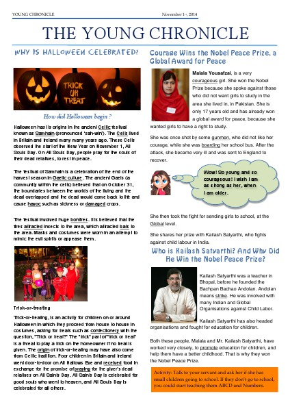 The Young Chronicle: For 1st Graders October 31st, 2014