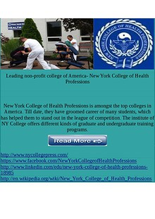 New York College of Health Professions Holistic healthcare Leading non-profit college of America- New York College of Health Pro