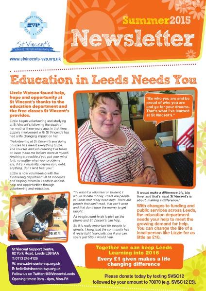 St Vincent's Support Centre Newsletter Summer 2015