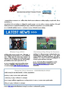 Street Soccer Scotland Newsletter - December 2013 12.13