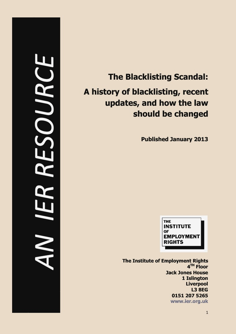 IER Resources The Blacklisting Scandal