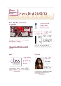 Weekly Employment Law News Briefs 31/05/13
