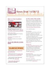 Weekly Employment Law News Briefs 14/06/2013