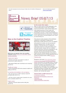 Weekly Employment Law News Briefs 05/07/13