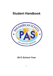Pan-American School Student Handbook 2013 1-2013
