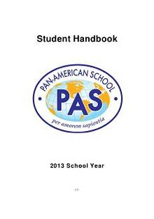 Pan-American School Student Handbook 2013