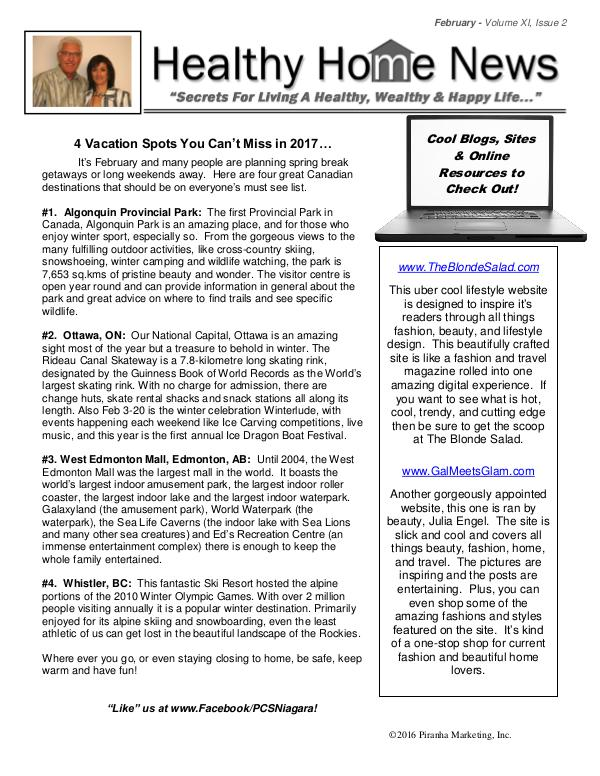 Healthy Home Newsletter Volume Xl, Issue 2
