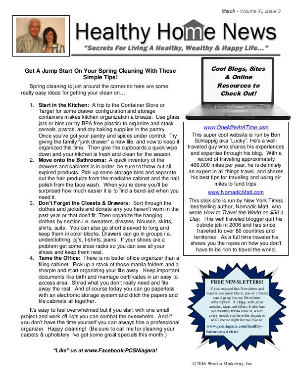 Healthy Home Newsletter March Volume Xl, Issue 3