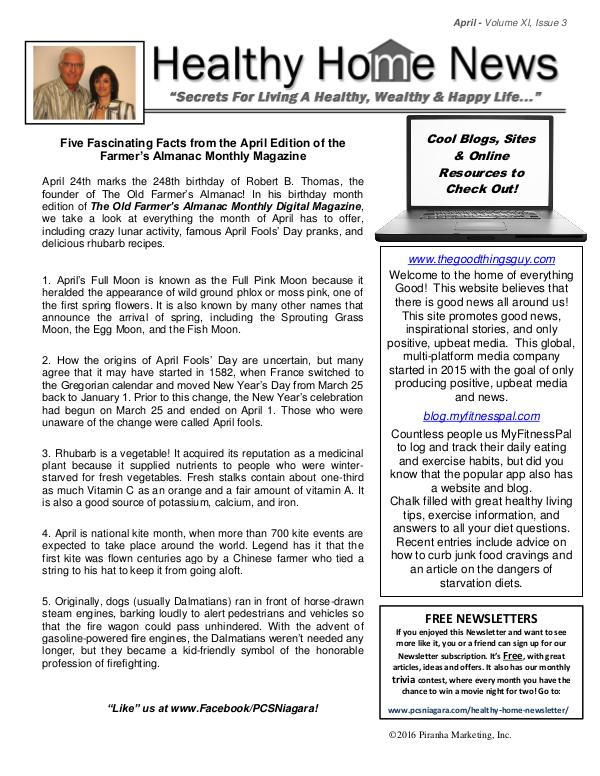 Healthy Home Newsletter April - Volume Xl, Issue 3