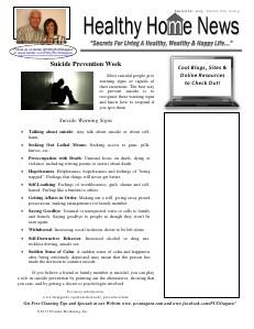 Healthy Home Newsletter September 2013 - Volume XVII, Issue 9
