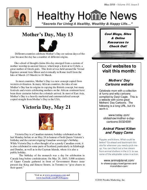 Healthy Home Newsletter May 2018 - Volume XVl, Issue 5