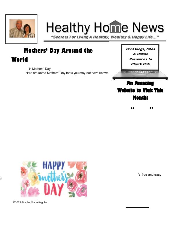 Healthy Home Newsletter May 2019 - Volume XVll, Issue 5