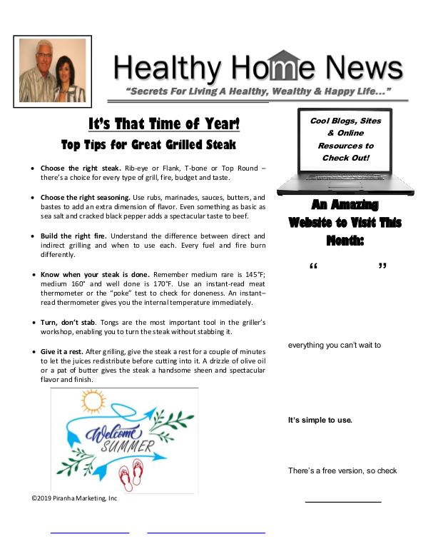 Healthy Home Newsletter June 2019 - Volume XVII, Issue 6