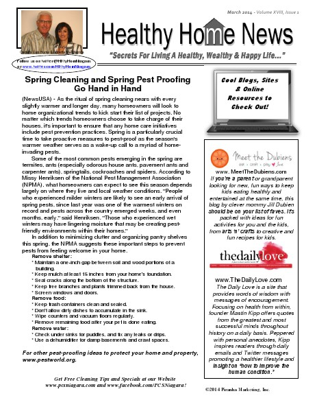 Healthy Home Newsletter March 2014 - Volume XVIII, Issue 3