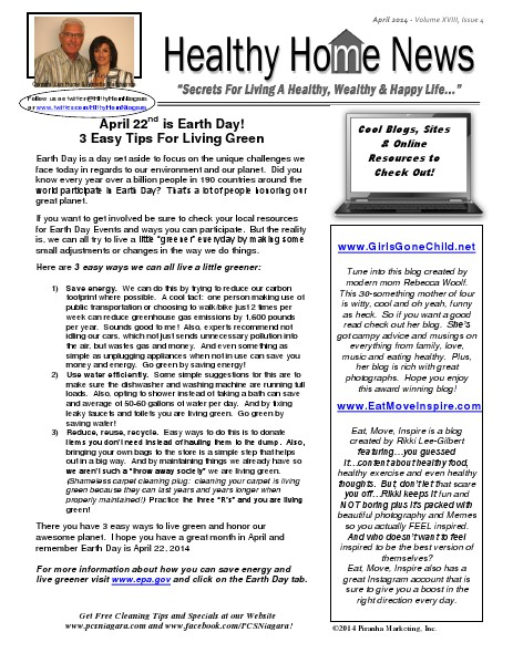 Healthy Home Newsletter April 2014 - Volume XVIII, Issue 4