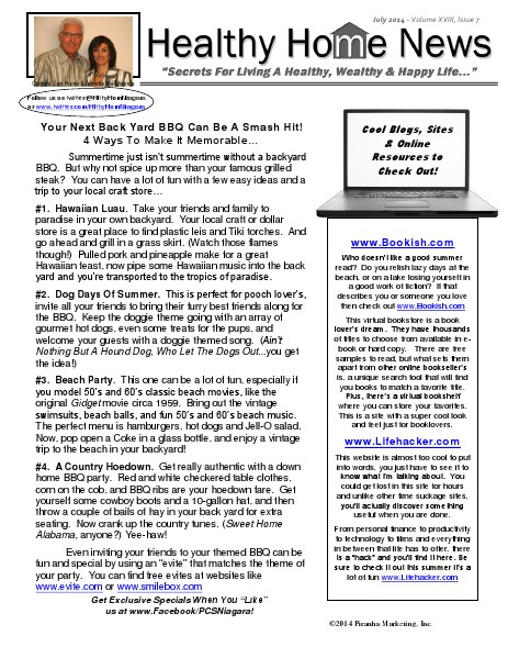 Healthy Home Newsletter July 2014 - Volume XVll, Issue 7