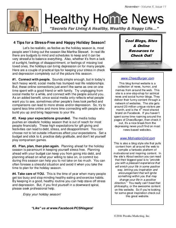 Healthy Home Newsletter Volume X, Issue 11