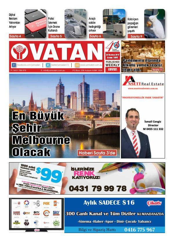 Yeni Vatan weekly Turkish Newspaper June 2017 Issue 1895